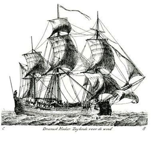 Small beautifully detailed etching of a large Dutch three-masted merchant Hoeker running before the wind.